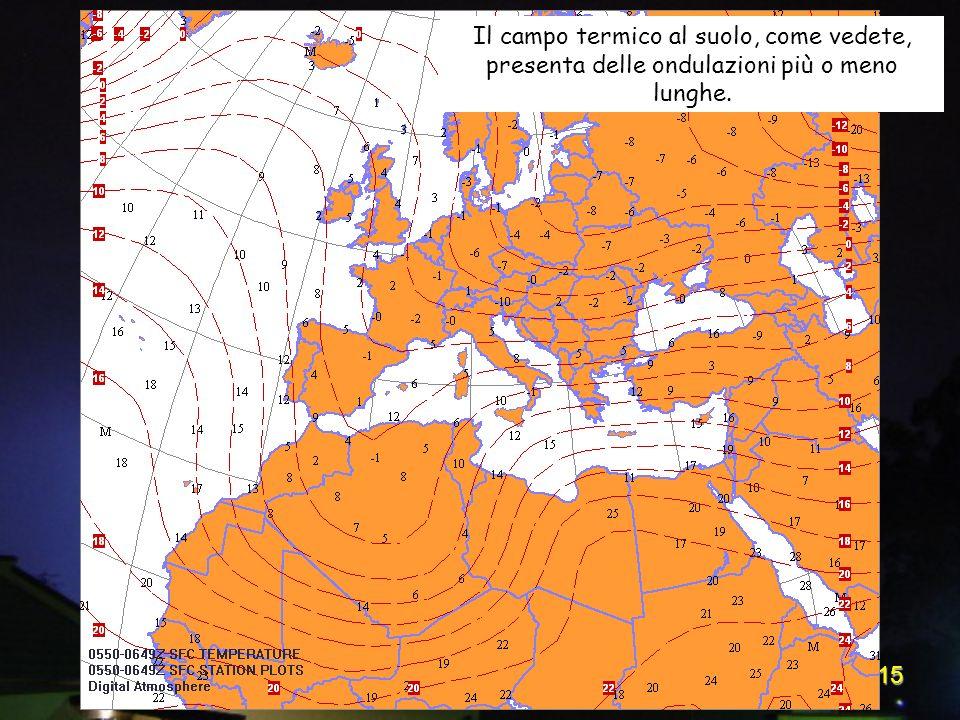 15 Il campo termico al suolo, come vedete, presenta delle ondulazioni più o meno lunghe.