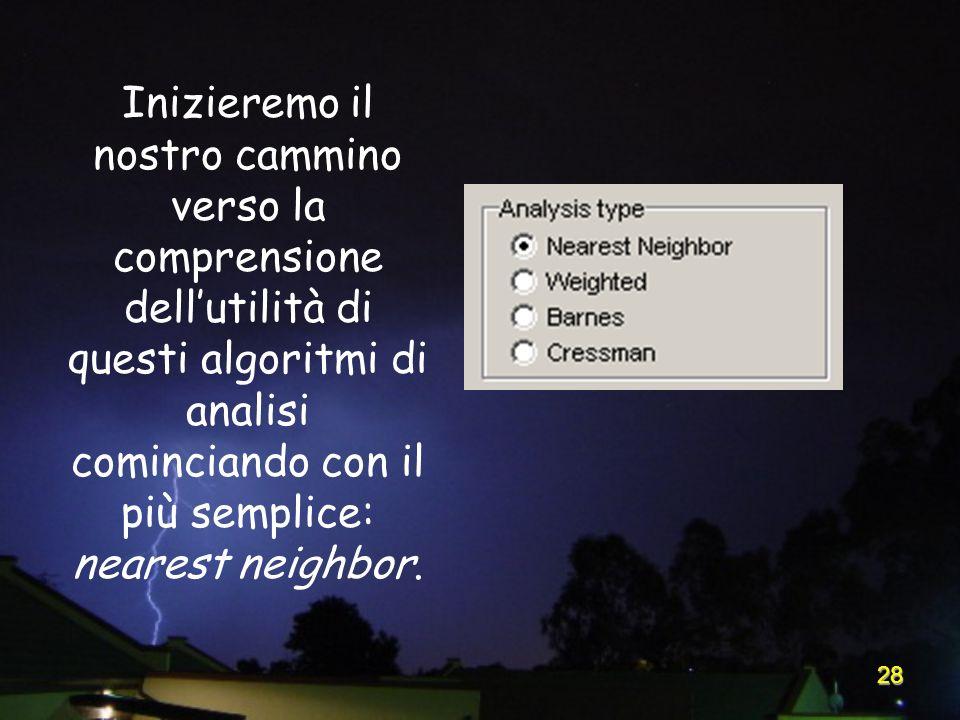 28 Inizieremo il nostro cammino verso la comprensione dellutilità di questi algoritmi di analisi cominciando con il più semplice: nearest neighbor.