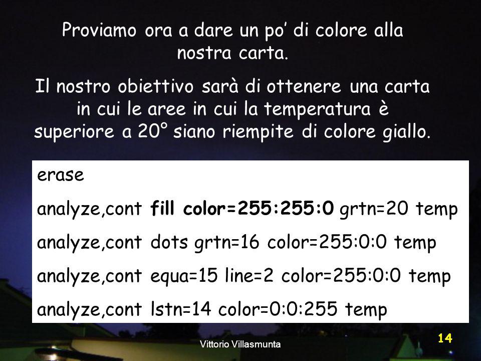 Vittorio Villasmunta 14 Proviamo ora a dare un po di colore alla nostra carta. Il nostro obiettivo sarà di ottenere una carta in cui le aree in cui la