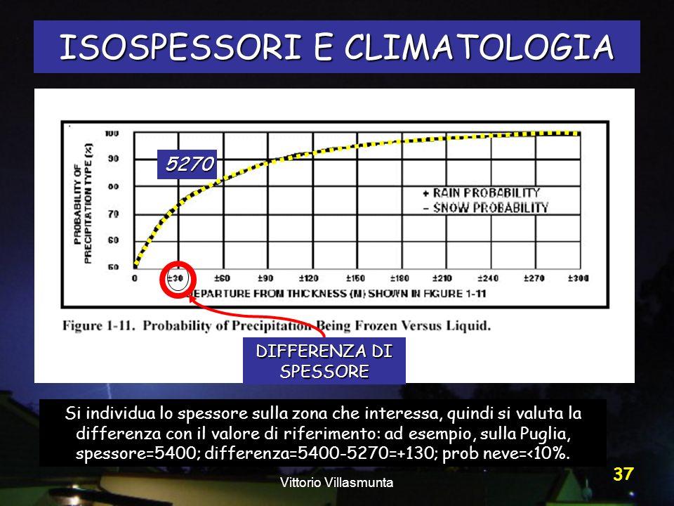 Vittorio Villasmunta 37 ISOSPESSORI E CLIMATOLOGIA DIFFERENZA DI SPESSORE 5270 Si individua lo spessore sulla zona che interessa, quindi si valuta la