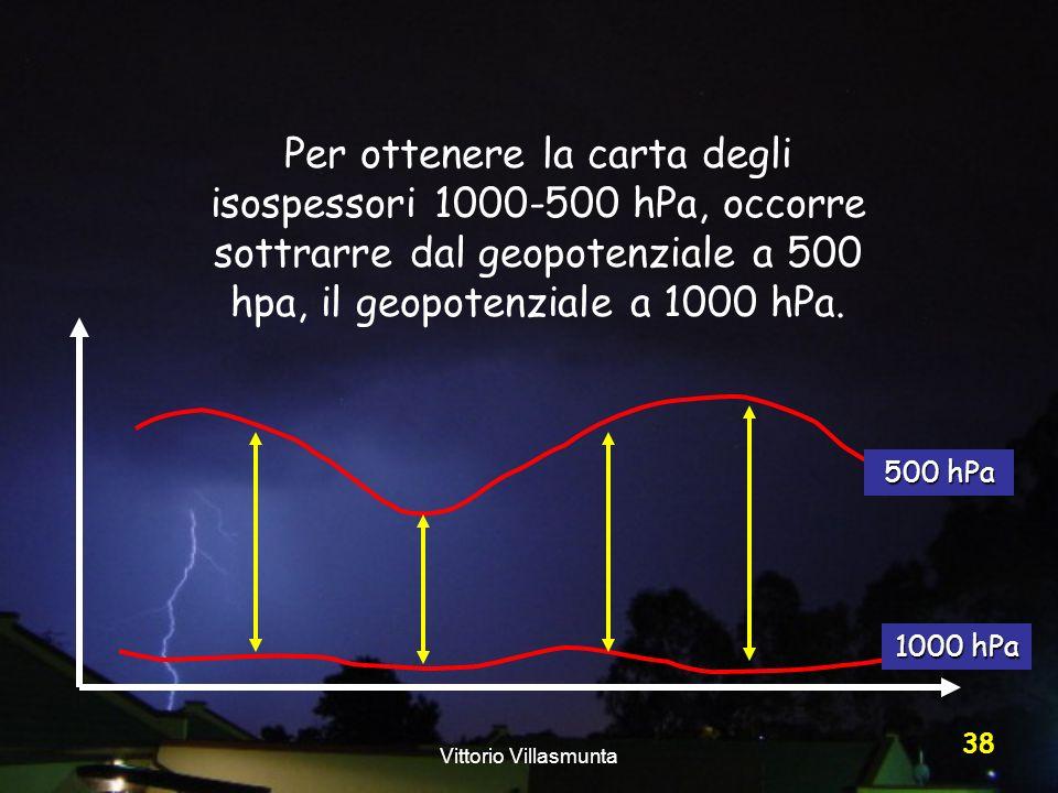 Vittorio Villasmunta 38 Per ottenere la carta degli isospessori 1000-500 hPa, occorre sottrarre dal geopotenziale a 500 hpa, il geopotenziale a 1000 h