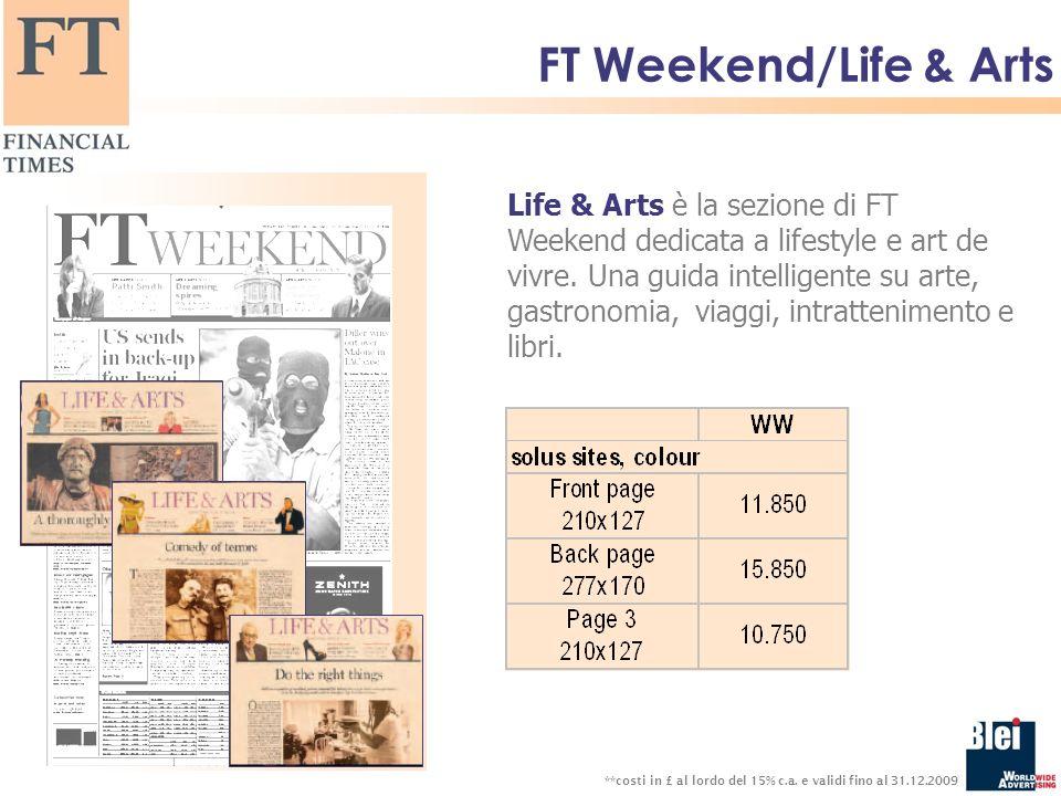 FT Weekend/Life & Arts Life & Arts è la sezione di FT Weekend dedicata a lifestyle e art de vivre.