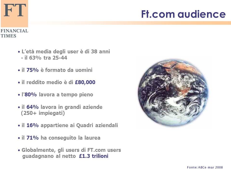 Ft.com audience Letà media degli user è di 38 anni - il 63% tra 25-44 il 75% è formato da uomini il reddito medio è di £80,000 l80% lavora a tempo pieno il 64% lavora in grandi aziende (250+ impiegati) il 16% appartiene ai Quadri aziendali il 71% ha conseguito la laurea Globalmente, gli users di FT.com users guadagnano al netto £1.3 trilioni Fonte: ABCe mar 2008