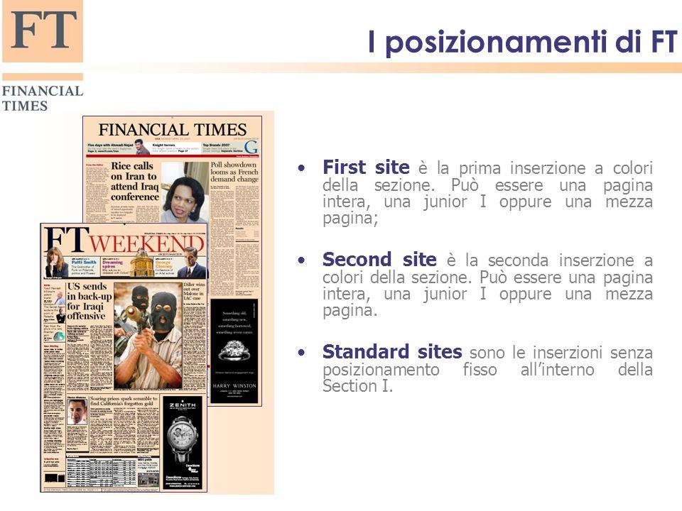 I posizionamenti di FT First site è la prima inserzione a colori della sezione.