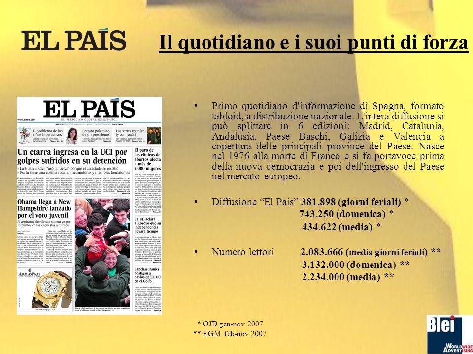 Il quotidiano e i suoi punti di forza Primo quotidiano d informazione di Spagna, formato tabloid, a distribuzione nazionale.