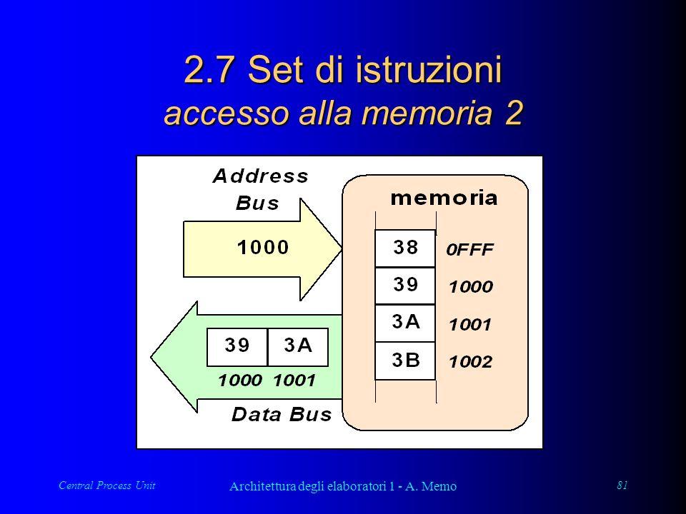 Central Process Unit Architettura degli elaboratori 1 - A. Memo 81 2.7 Set di istruzioni accesso alla memoria 2