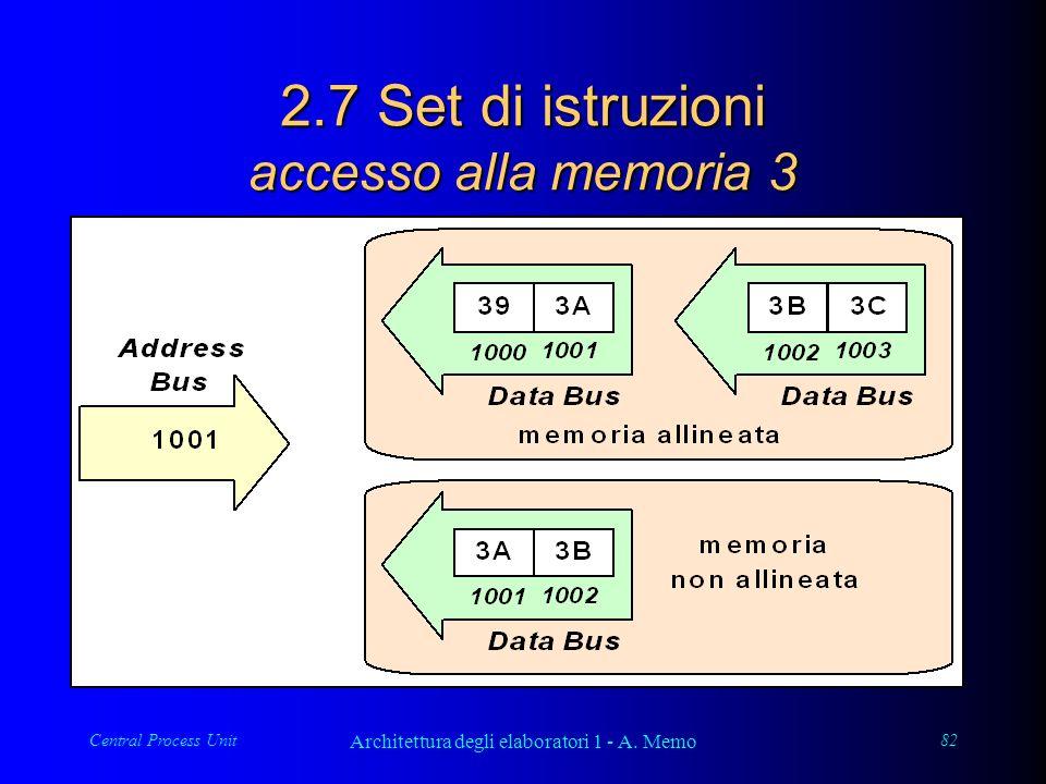 Central Process Unit Architettura degli elaboratori 1 - A. Memo 82 2.7 Set di istruzioni accesso alla memoria 3