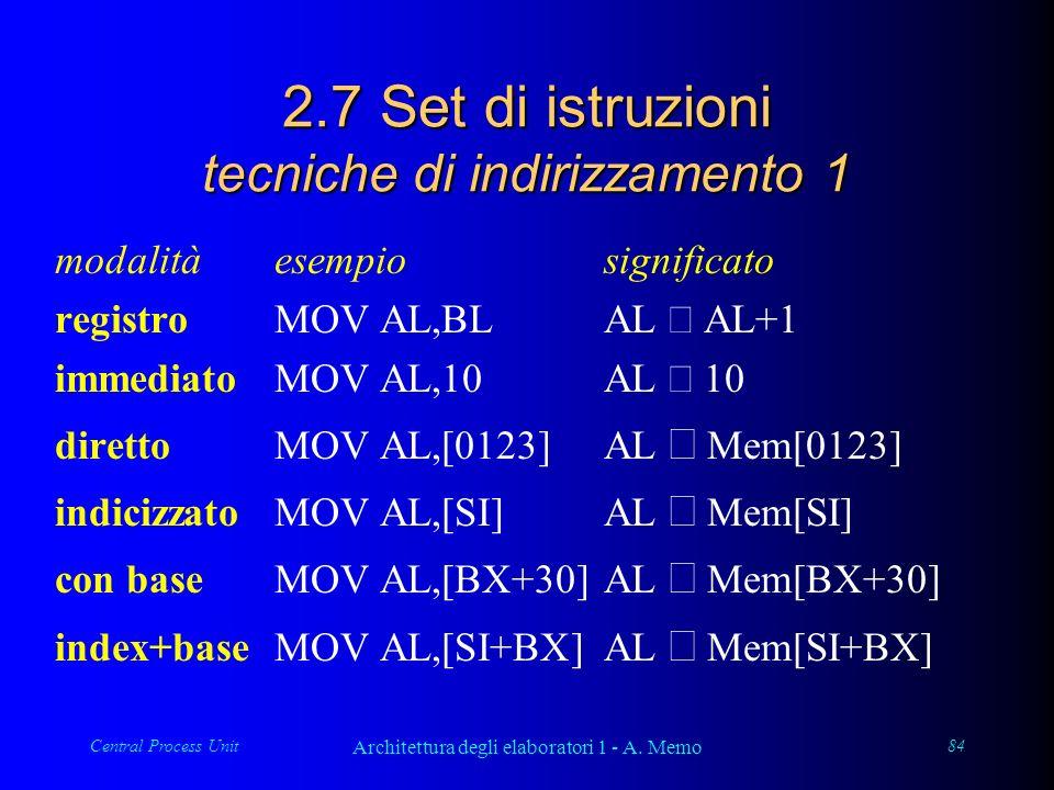 Central Process Unit Architettura degli elaboratori 1 - A. Memo 84 2.7 Set di istruzioni tecniche di indirizzamento 1 modalitàesempiosignificato regis