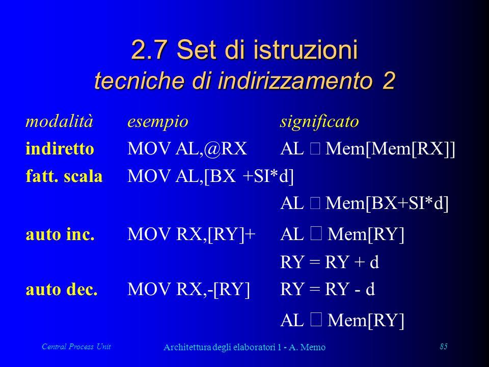 Central Process Unit Architettura degli elaboratori 1 - A. Memo 85 2.7 Set di istruzioni tecniche di indirizzamento 2 modalitàesempiosignificato indir