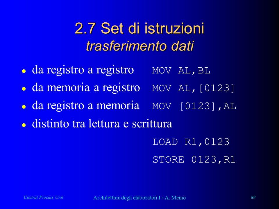 Central Process Unit Architettura degli elaboratori 1 - A. Memo 89 2.7 Set di istruzioni trasferimento dati da registro a registro MOV AL,BL da memori