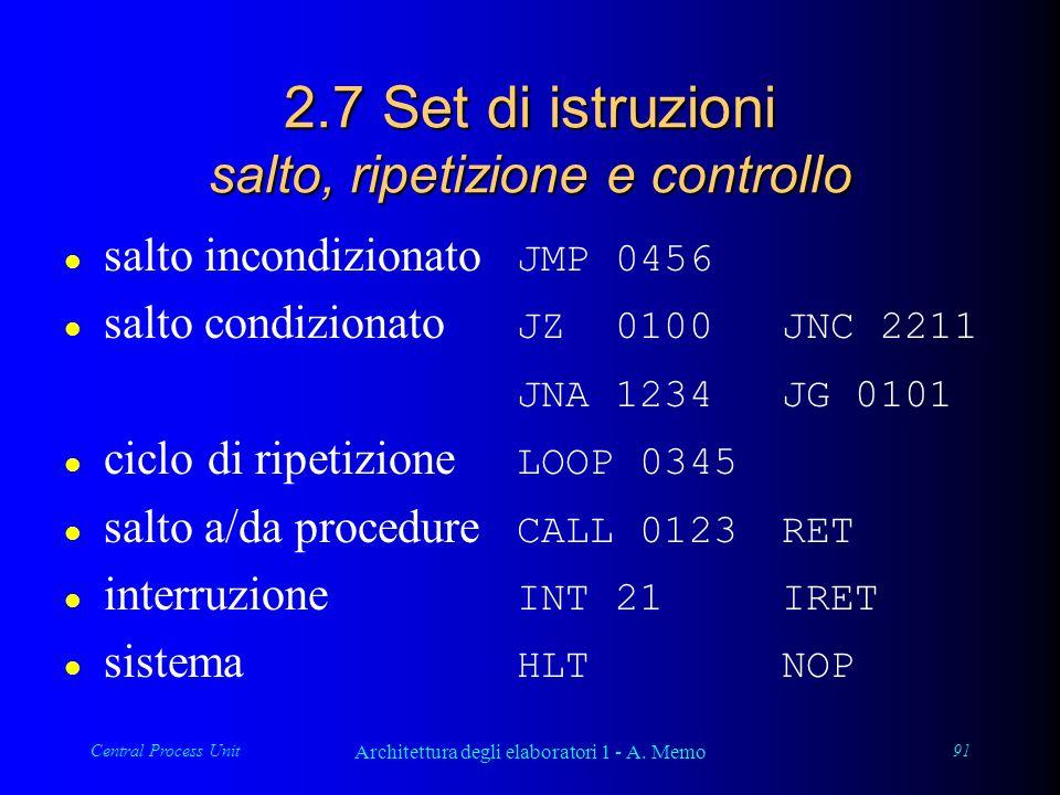 Central Process Unit Architettura degli elaboratori 1 - A. Memo 91 2.7 Set di istruzioni salto, ripetizione e controllo salto incondizionato JMP 0456