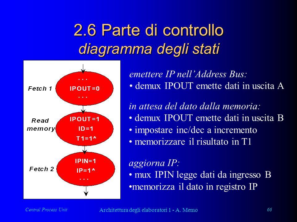 Central Process Unit Architettura degli elaboratori 1 - A. Memo 66 2.6 Parte di controllo diagramma degli stati emettere IP nellAddress Bus: demux IPO