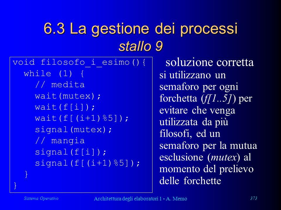 Sistema Operativo Architettura degli elaboratori 1 - A. Memo 373 6.3 La gestione dei processi stallo 9 soluzione corretta si utilizzano un semaforo pe