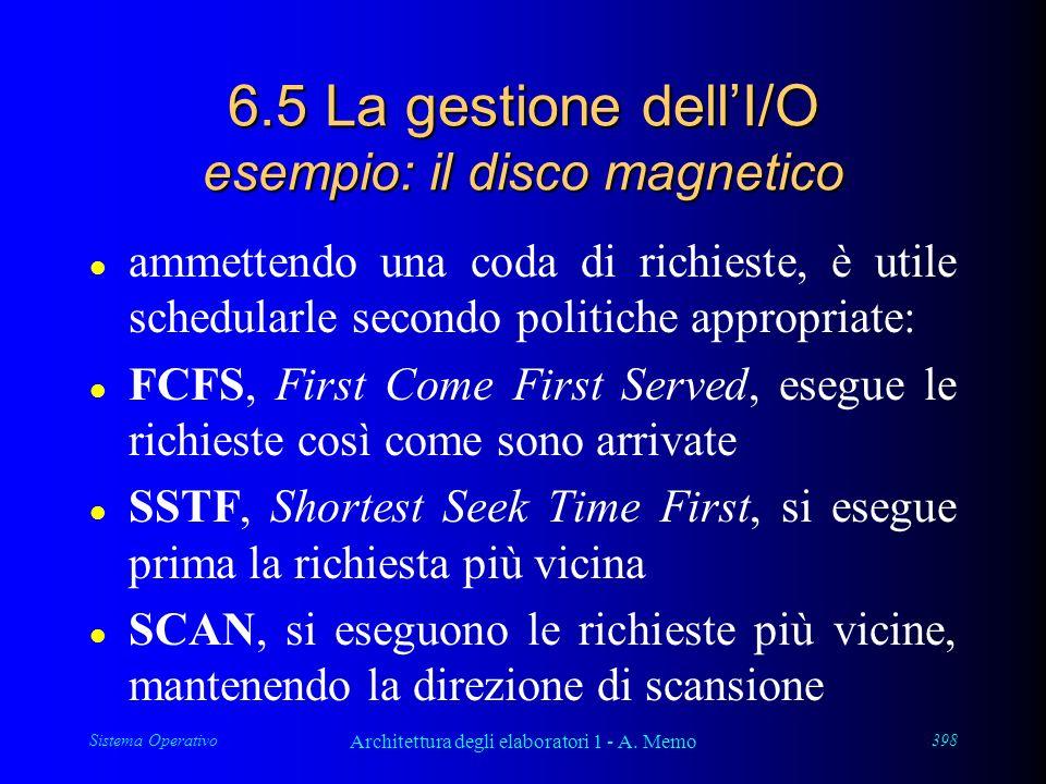 Sistema Operativo Architettura degli elaboratori 1 - A. Memo 398 6.5 La gestione dellI/O esempio: il disco magnetico l ammettendo una coda di richiest
