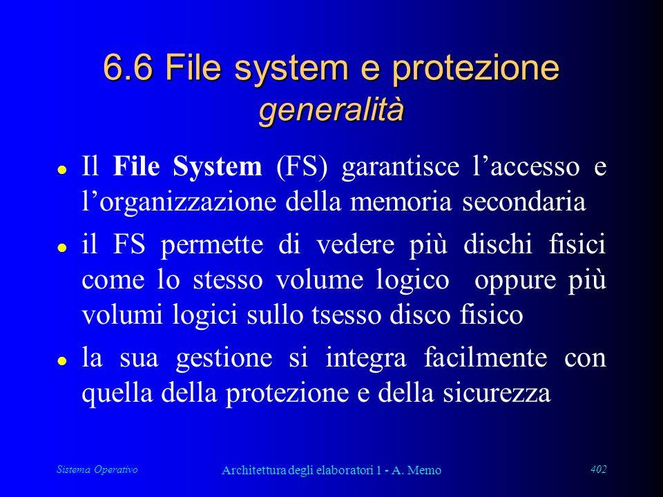 Sistema Operativo Architettura degli elaboratori 1 - A. Memo 402 6.6 File system e protezione generalità l Il File System (FS) garantisce laccesso e l