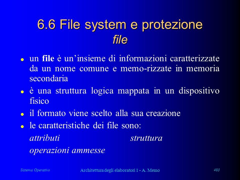 Sistema Operativo Architettura degli elaboratori 1 - A. Memo 403 6.6 File system e protezione file l un file è uninsieme di informazioni caratterizzat