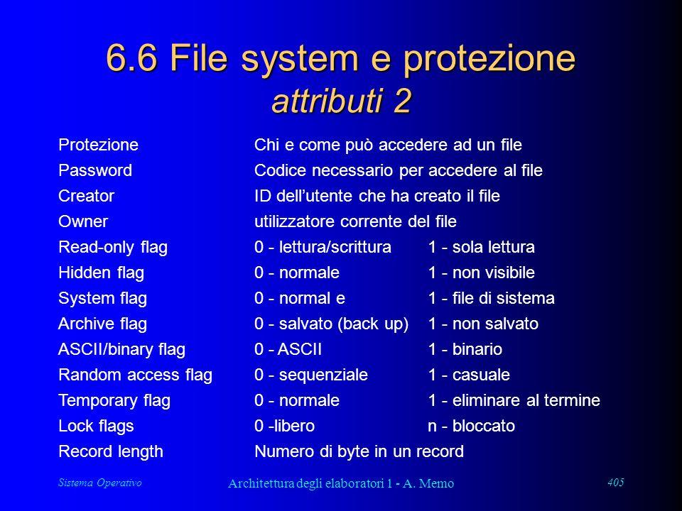 Sistema Operativo Architettura degli elaboratori 1 - A. Memo 405 6.6 File system e protezione attributi 2 ProtezioneChi e come può accedere ad un file