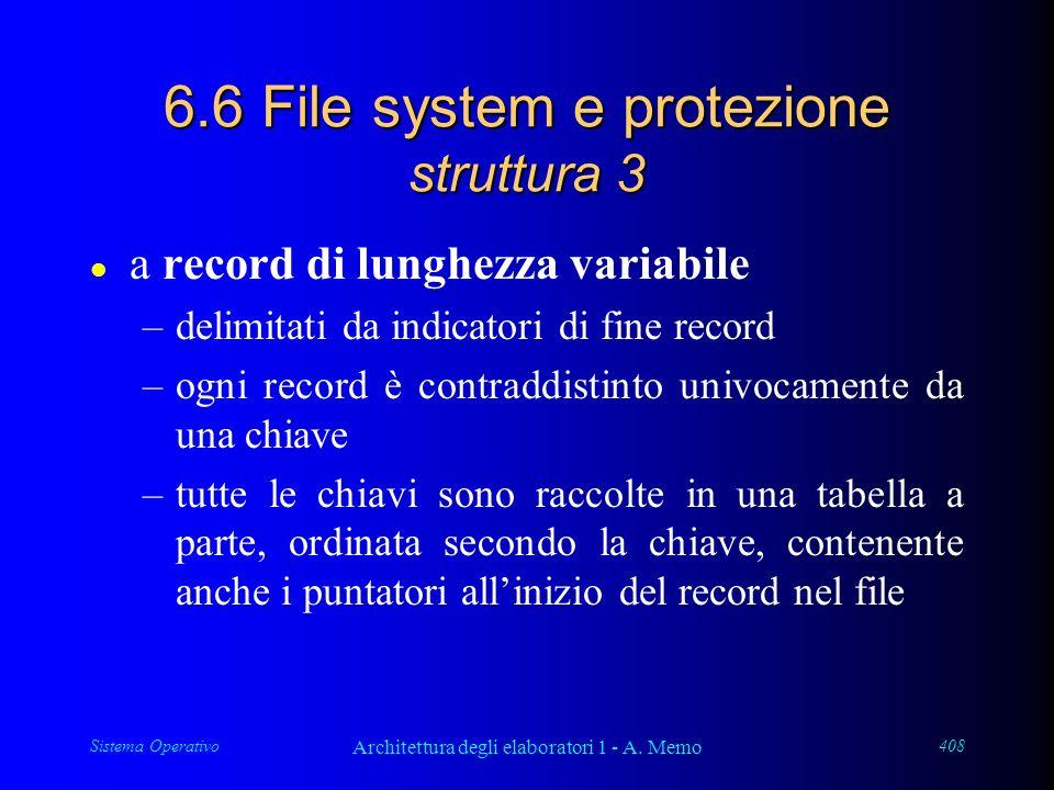 Sistema Operativo Architettura degli elaboratori 1 - A. Memo 408 6.6 File system e protezione struttura 3 l a record di lunghezza variabile –delimitat