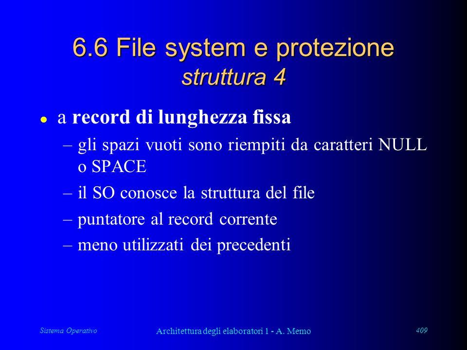 Sistema Operativo Architettura degli elaboratori 1 - A. Memo 409 6.6 File system e protezione struttura 4 l a record di lunghezza fissa –gli spazi vuo