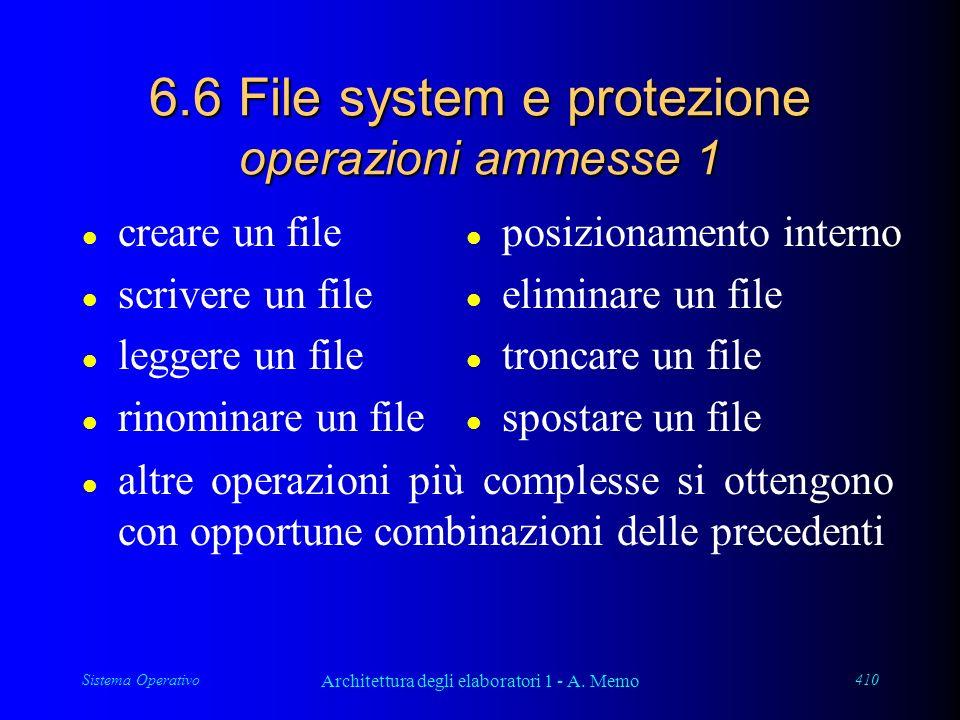 Sistema Operativo Architettura degli elaboratori 1 - A. Memo 410 6.6 File system e protezione operazioni ammesse 1 l altre operazioni più complesse si