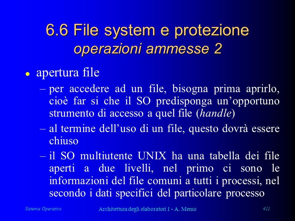 Sistema Operativo Architettura degli elaboratori 1 - A. Memo 411 6.6 File system e protezione operazioni ammesse 2 l apertura file –per accedere ad un