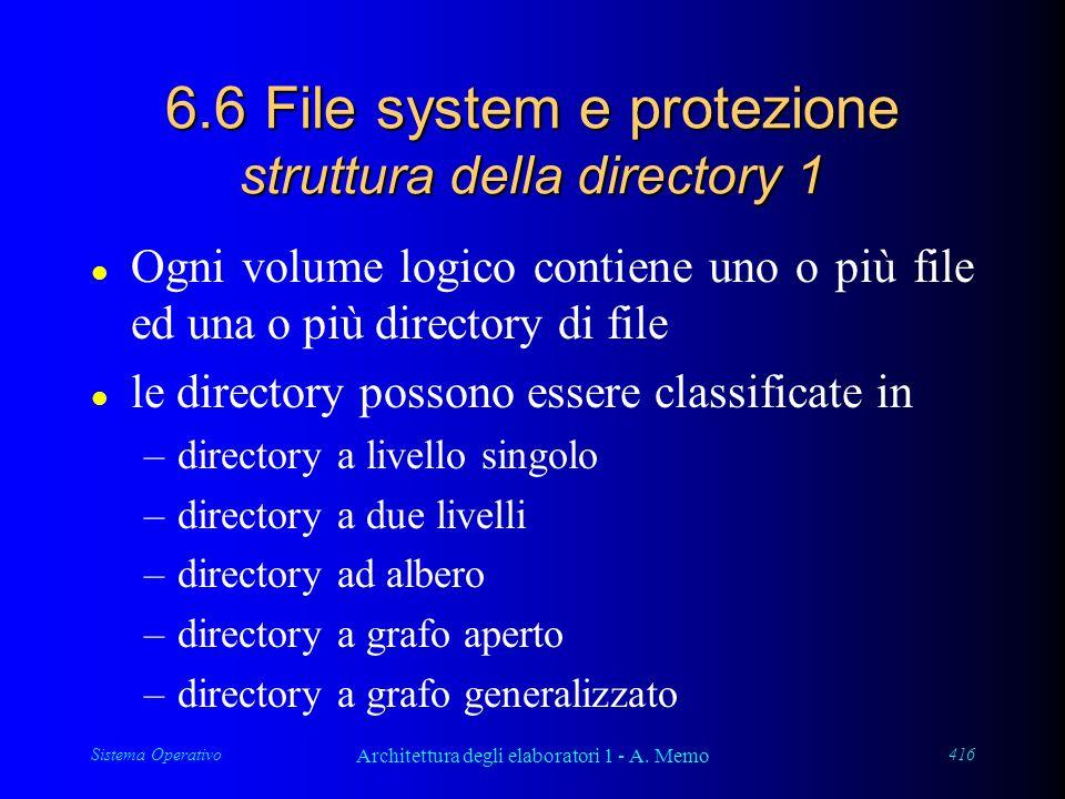 Sistema Operativo Architettura degli elaboratori 1 - A. Memo 416 6.6 File system e protezione struttura della directory 1 l Ogni volume logico contien