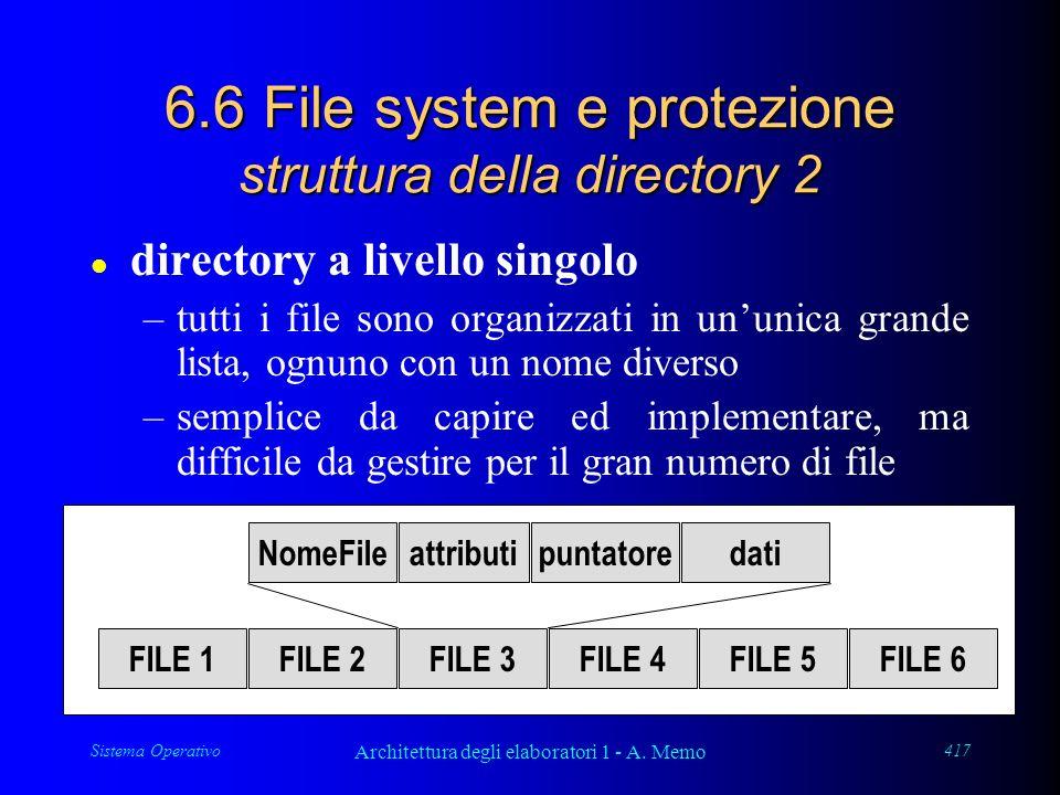 Sistema Operativo Architettura degli elaboratori 1 - A. Memo 417 6.6 File system e protezione struttura della directory 2 l directory a livello singol
