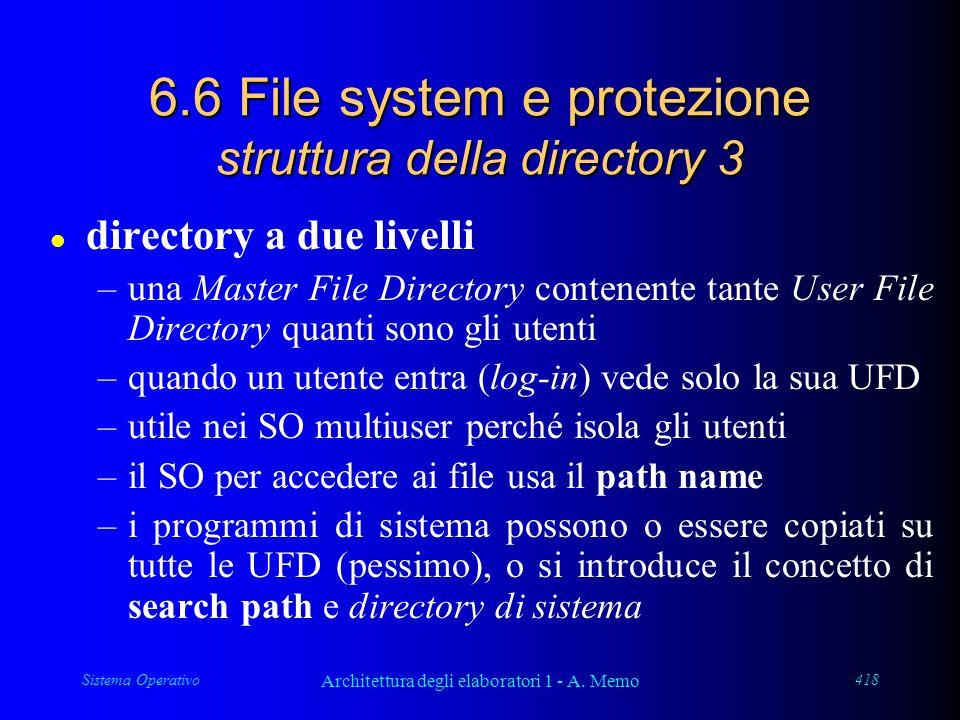 Sistema Operativo Architettura degli elaboratori 1 - A. Memo 418 6.6 File system e protezione struttura della directory 3 l directory a due livelli –u