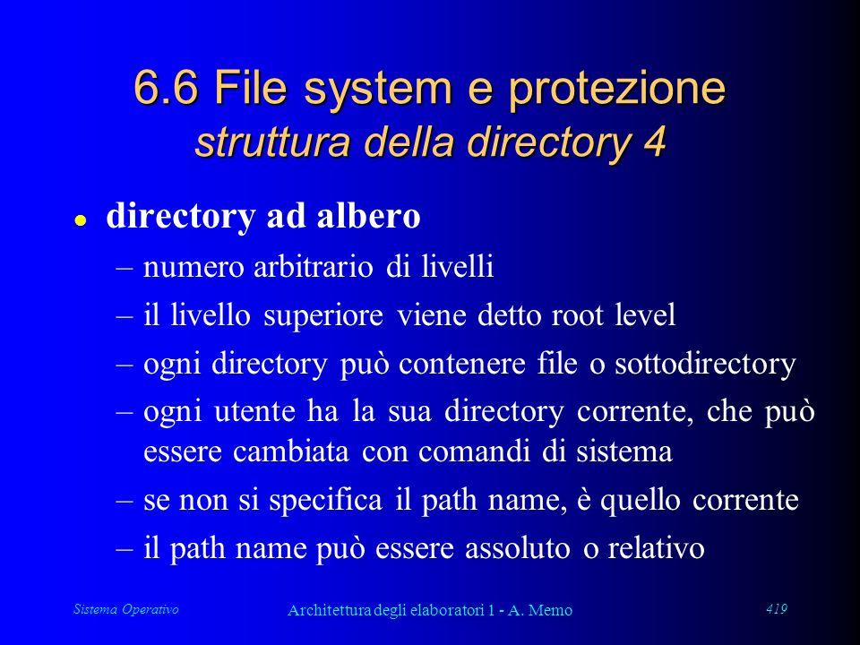 Sistema Operativo Architettura degli elaboratori 1 - A. Memo 419 6.6 File system e protezione struttura della directory 4 l directory ad albero –numer