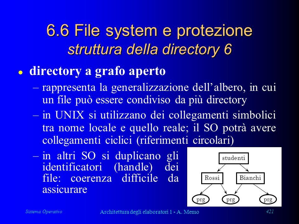 Sistema Operativo Architettura degli elaboratori 1 - A. Memo 421 6.6 File system e protezione struttura della directory 6 l directory a grafo aperto –