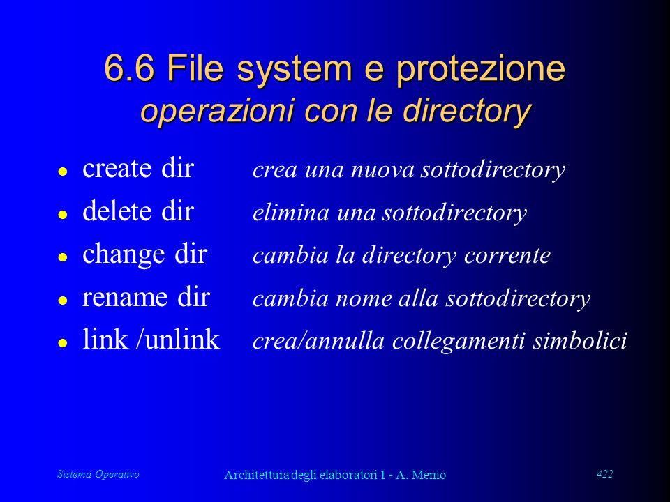 Sistema Operativo Architettura degli elaboratori 1 - A. Memo 422 6.6 File system e protezione operazioni con le directory l create dir crea una nuova