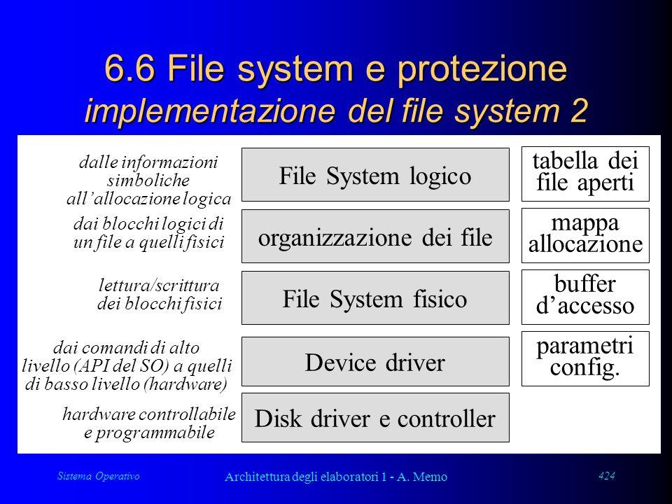 Sistema Operativo Architettura degli elaboratori 1 - A. Memo 424 6.6 File system e protezione implementazione del file system 2 File System logico org