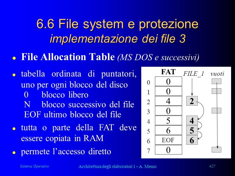 Sistema Operativo Architettura degli elaboratori 1 - A. Memo 427 6.6 File system e protezione implementazione dei file 3 l File Allocation Table (MS D