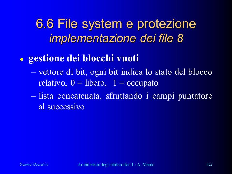 Sistema Operativo Architettura degli elaboratori 1 - A. Memo 432 6.6 File system e protezione implementazione dei file 8 l gestione dei blocchi vuoti