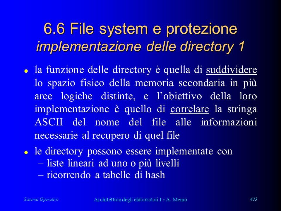 Sistema Operativo Architettura degli elaboratori 1 - A. Memo 433 6.6 File system e protezione implementazione delle directory 1 l la funzione delle di