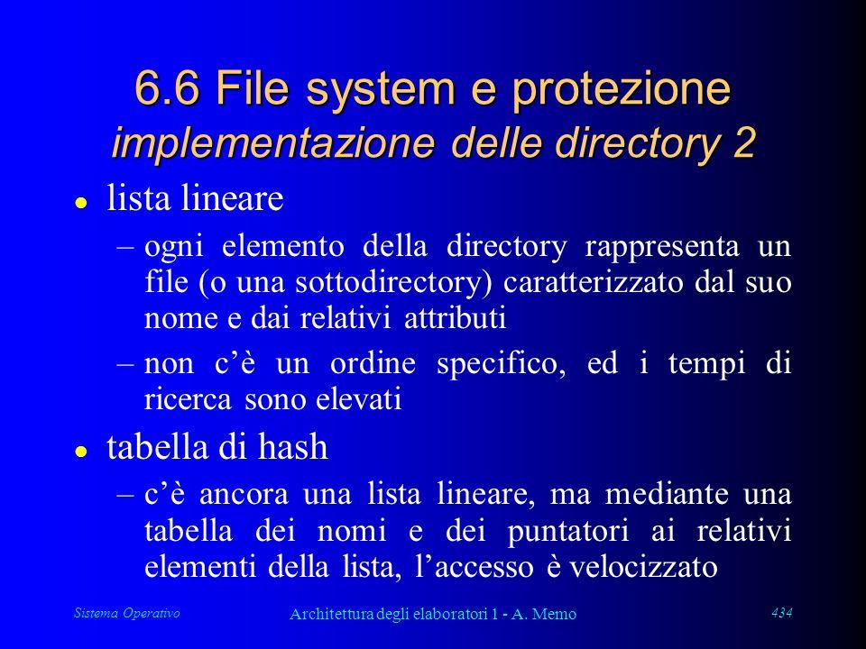 Sistema Operativo Architettura degli elaboratori 1 - A. Memo 434 6.6 File system e protezione implementazione delle directory 2 l lista lineare –ogni
