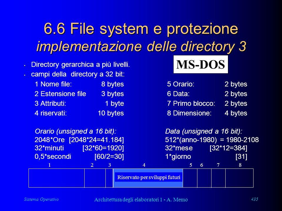 Sistema Operativo Architettura degli elaboratori 1 - A. Memo 435 6.6 File system e protezione implementazione delle directory 3 Directory gerarchica a