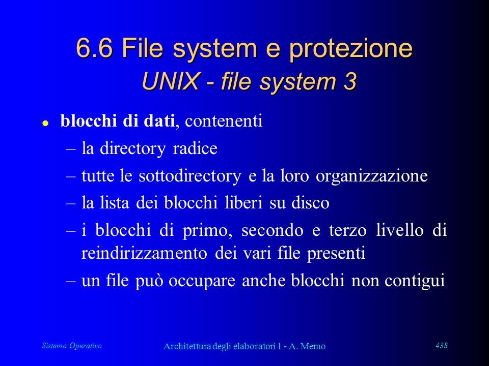 Sistema Operativo Architettura degli elaboratori 1 - A. Memo 438 6.6 File system e protezione UNIX - file system 3 l blocchi di dati, contenenti –la d