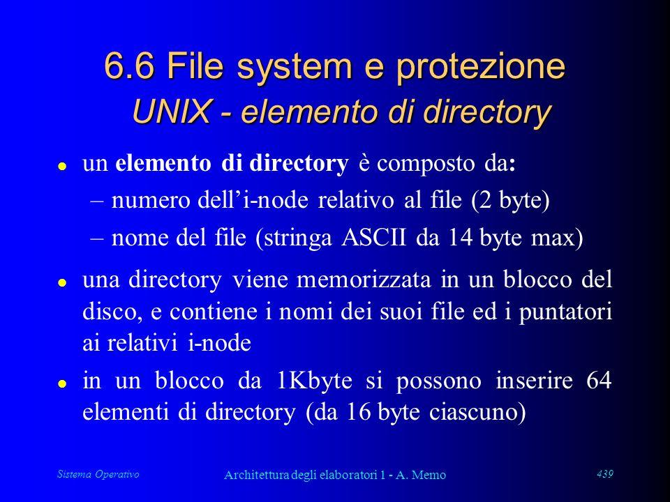 Sistema Operativo Architettura degli elaboratori 1 - A. Memo 439 6.6 File system e protezione UNIX - elemento di directory l un elemento di directory