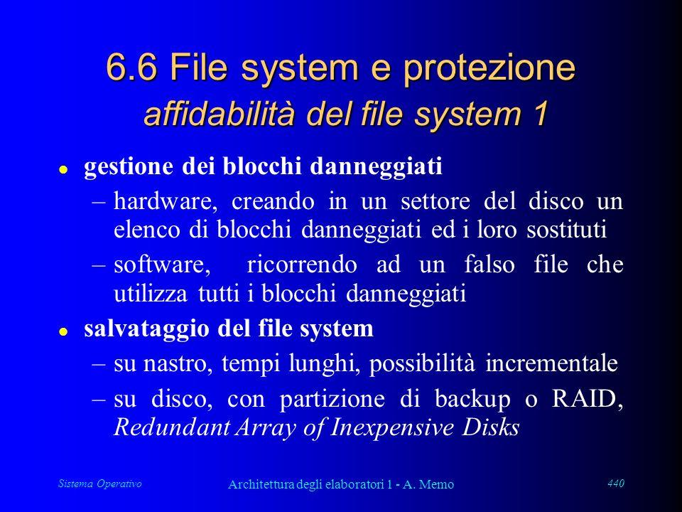 Sistema Operativo Architettura degli elaboratori 1 - A. Memo 440 6.6 File system e protezione affidabilità del file system 1 l gestione dei blocchi da