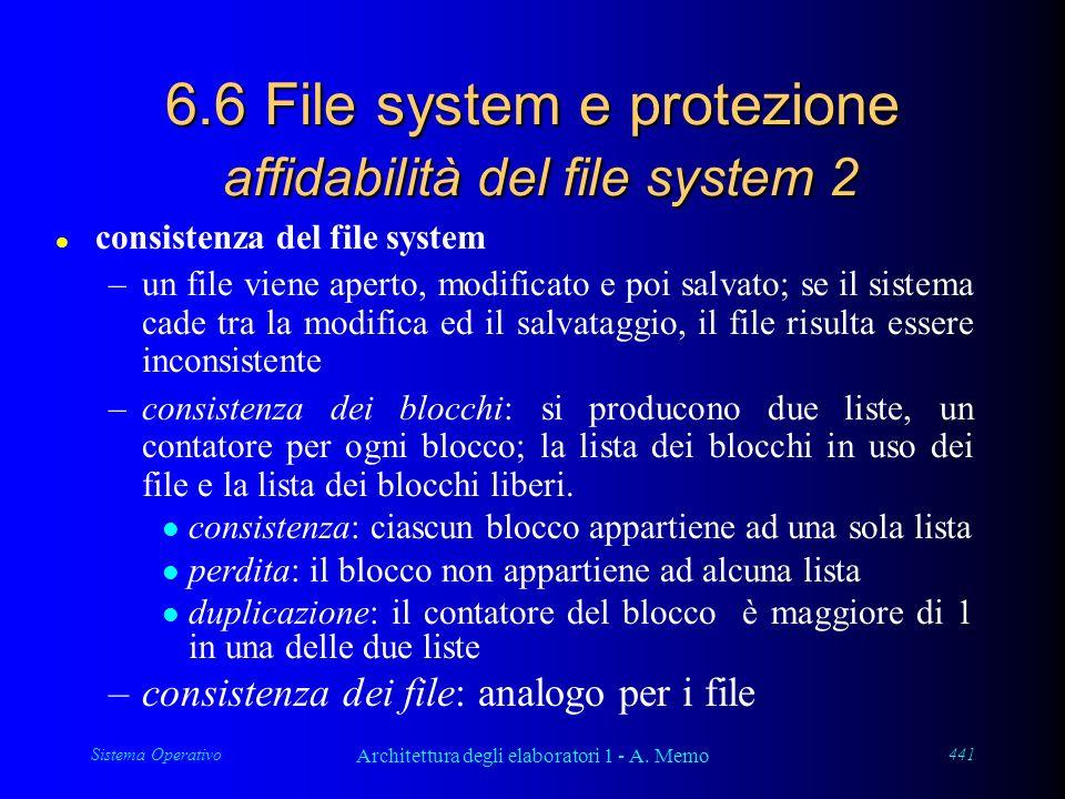 Sistema Operativo Architettura degli elaboratori 1 - A. Memo 441 6.6 File system e protezione affidabilità del file system 2 l consistenza del file sy