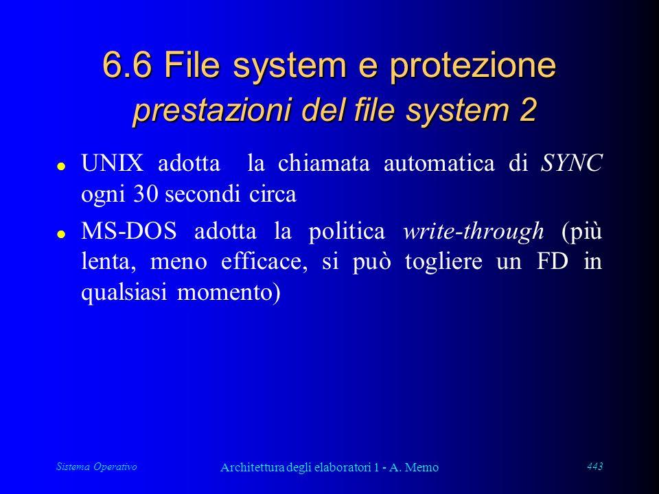 Sistema Operativo Architettura degli elaboratori 1 - A. Memo 443 6.6 File system e protezione prestazioni del file system 2 l UNIX adotta la chiamata