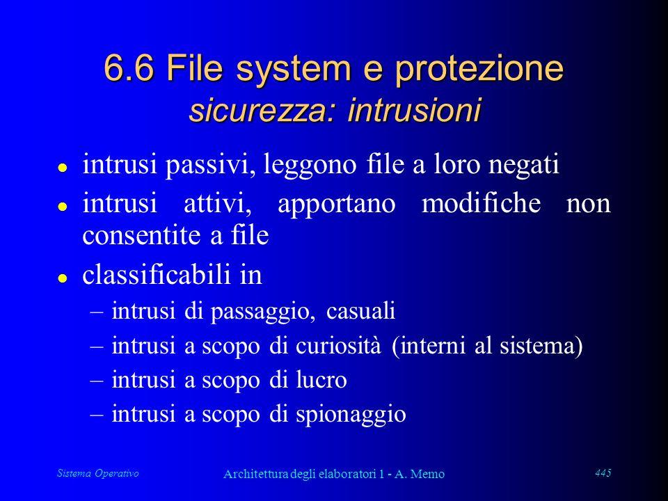Sistema Operativo Architettura degli elaboratori 1 - A. Memo 445 6.6 File system e protezione sicurezza: intrusioni l intrusi passivi, leggono file a