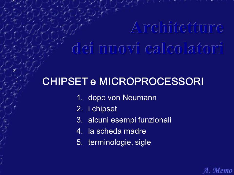 CHIPSET e MICROPROCESSORI 1.dopo von Neumann 2.i chipset 3.alcuni esempi funzionali 4.la scheda madre 5.terminologie, sigle