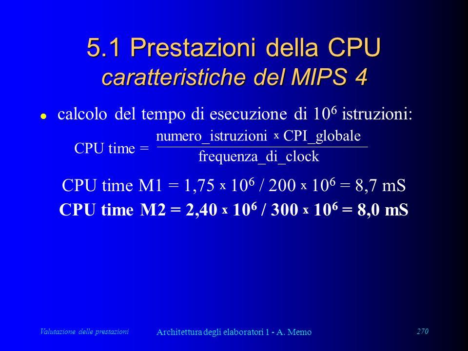 Valutazione delle prestazioni Architettura degli elaboratori 1 - A. Memo 270 5.1 Prestazioni della CPU caratteristiche del MIPS 4 l calcolo del tempo