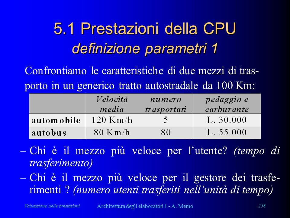 Valutazione delle prestazioni Architettura degli elaboratori 1 - A. Memo 258 5.1 Prestazioni della CPU definizione parametri 1 Confrontiamo le caratte