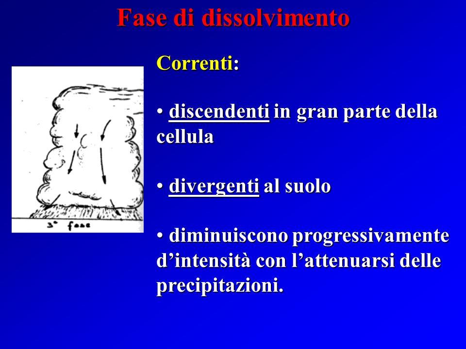 Correnti: discendenti nella parte della cellula ove hanno luogo le precipitazioni; discendenti nella parte della cellula ove hanno luogo le precipitaz