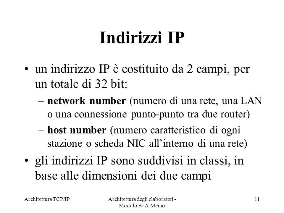 Architettura TCP/IPArchitettura degli elaboratori - Modulo B- A.Memo 11 Indirizzi IP un indirizzo IP è costituito da 2 campi, per un totale di 32 bit: