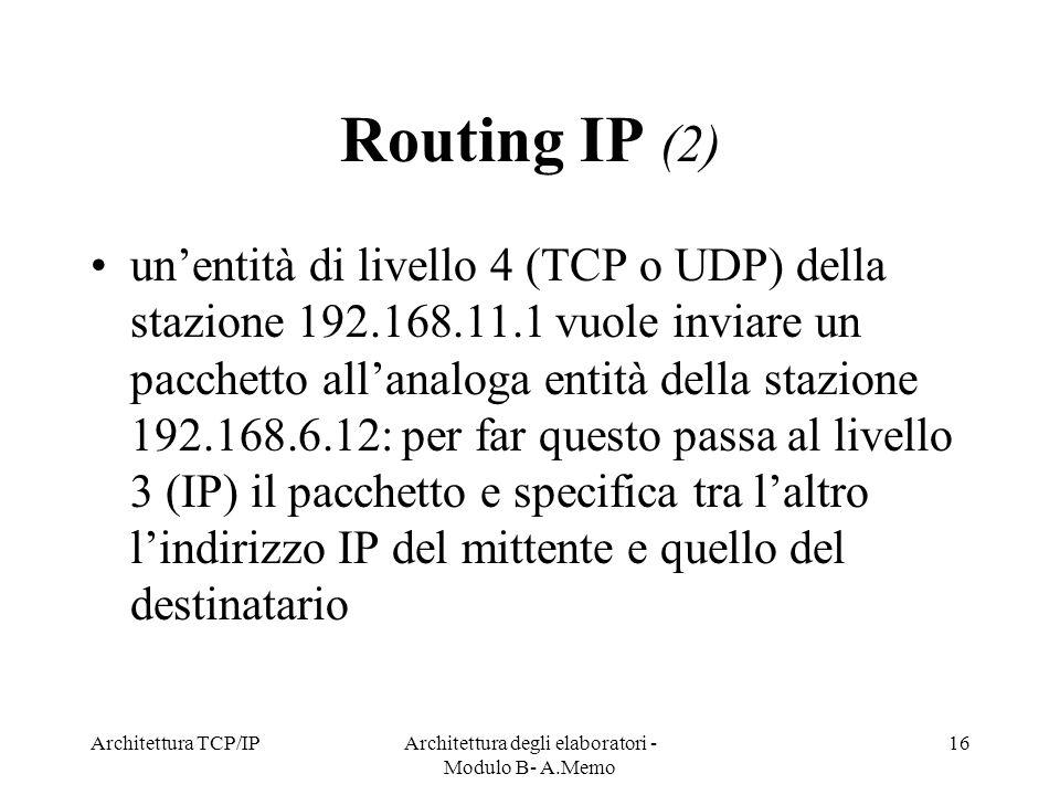 Architettura TCP/IPArchitettura degli elaboratori - Modulo B- A.Memo 16 Routing IP (2) unentità di livello 4 (TCP o UDP) della stazione 192.168.11.1 v