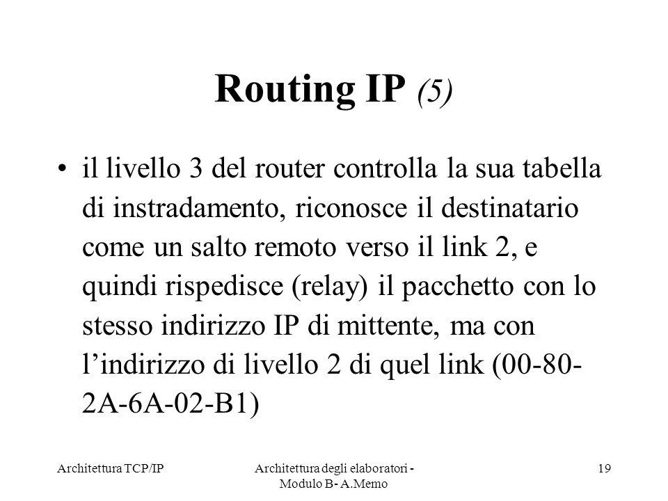 Architettura TCP/IPArchitettura degli elaboratori - Modulo B- A.Memo 19 Routing IP (5) il livello 3 del router controlla la sua tabella di instradamen